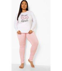 plus do not disturb pyjama set met lange mouwen, pale pink