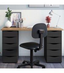 mesa para escritório due 10 gavetas nogal/preto - artany