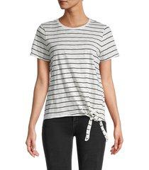 calvin klein women's striped crewneck t-shirt - soft white black - size m