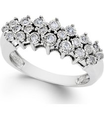 diamond pyramid ring (1/5 ct. t.w.) in sterling silver