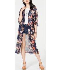 ultra flirt juniors' printed mesh duster kimono