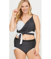lane bryant women's wrap longline swim bikini top with built-in plunge bra 32h scotch dot