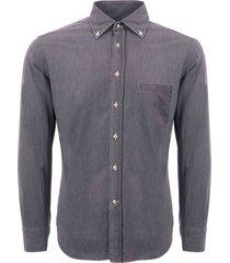 none of the above long sleeve denim shirt - grey noto-gden