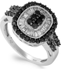sterling silver black (5/8 ct. t.w.) and white diamond (3/8 ct. t.w.) ring