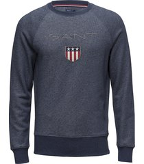 gant shield c-neck sweat sweat-shirt trui blauw gant