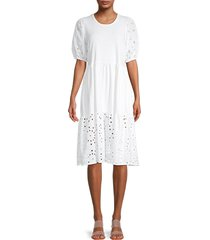 status by chenault women's eyelet puff-sleeve knit dress - white - size l