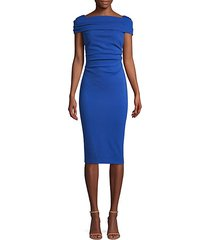dosa ruched cap-sleeve jersey dress