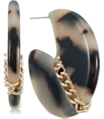 "inc gold-tone medium chain & tortoise-look hoop earrings, 1.13"", created for macy's"
