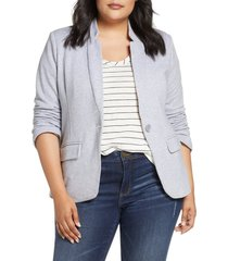 plus size women's gibson inverted notch collar cotton blend blazer, size 3x - grey