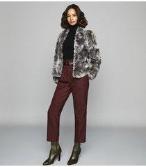 reiss millie coat - faux fur coat in grey, womens, size xl