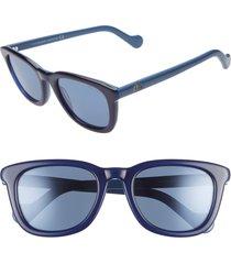 women's moncler 54mm sunglasses - shiny royal blue/ blue flash