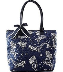 quilted nautical mermaid print small tote bag with bow accent navy blue
