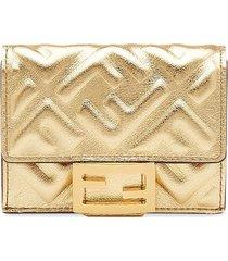 fendi small tri-fold baguette wallet - gold