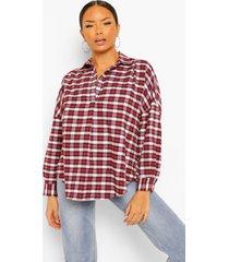 oversized geruite blouse met kraag, berry
