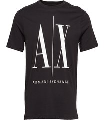 man t-shirt t-shirts short-sleeved svart armani exchange