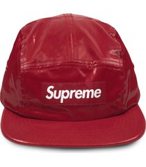 supreme coated linen camp cap - red