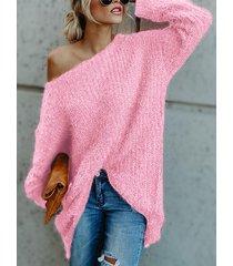 rosa one suéter suelto de manga larga y hombros descubiertos
