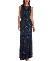 nightway illusion-trim sequin gown