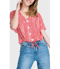 blusa io manga corta estampada rojo - calce regular