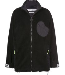 off-white fluffy funnel neck jacket - black
