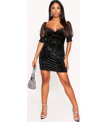 glitter velvet organza sleeve dress, black