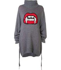 haculla fanged up turtleneck knit dress - grey