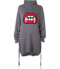 haculla fanged up turtleneck knit dress - grey
