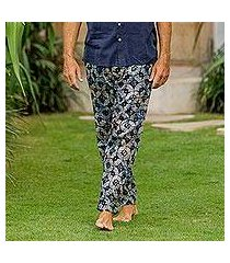men's cotton lounge pants, 'dawn fireworks' (indonesia)