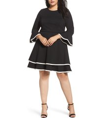 plus size women's eliza j bell sleeve tiered fit & flare dress