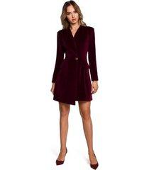 korte jurk moe m562 fluwelen blazerjurk - kastanjebruin