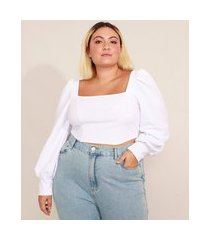 blusa cropped corset plus size manga bufante decote reto mindset branca