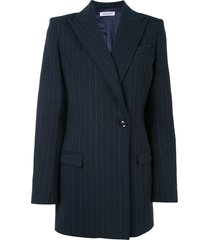 anna quan sienna longline pinstriped jacket - blue