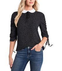 cece printed collared top