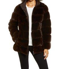 women's via spiga faux fur stand collar coat, size medium - brown