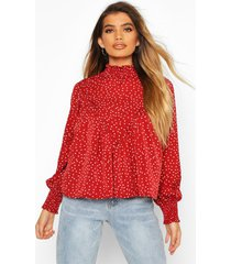 high neck spot print swing top, berry