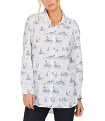 barbour seagrass nautical-print cotton shirt