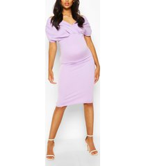 maternity off the shoulder ruched midi dress, lilac