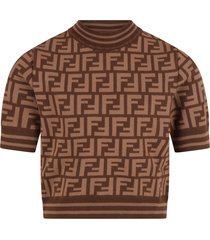 fendi brown sweater for girl with double ff logo