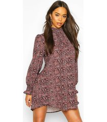 leopard print shirred neck shift dress, mauve