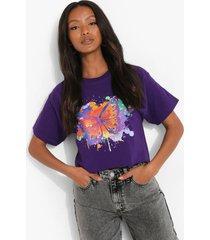 petite kort vlinder t-shirt met verfspetters, lilac