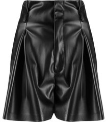 liu jo pleated-waist faux leather shorts - black
