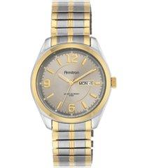 armitron men's two-tone stainless steel bracelet watch 39mm 20-4591gytt