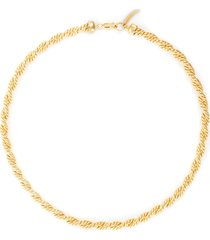 'marina' twisted double rope 18k gold plated necklace