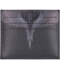 marcelo burlon black wings print leather card holder