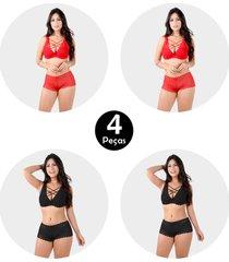 kit 4 conjunto imi lingerie com bojo strappy bra em renda caleã§on bibi sortido - multicolorido - feminino - renda - dafiti