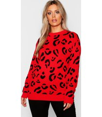 plus leopard knitted sweater, red