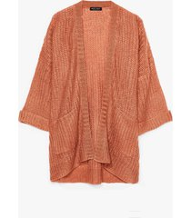 womens knit on my watch plus oversized cardigan - terracotta