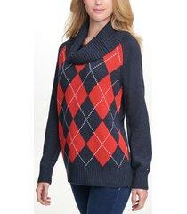 tommy hilfiger women's essential argyle cowl neck sweater sky captain - xs