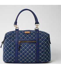 river island womens blue quilted denim weekend bag