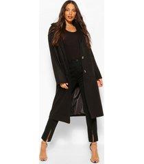 lang wollook longline jas met zakdetail, zwart